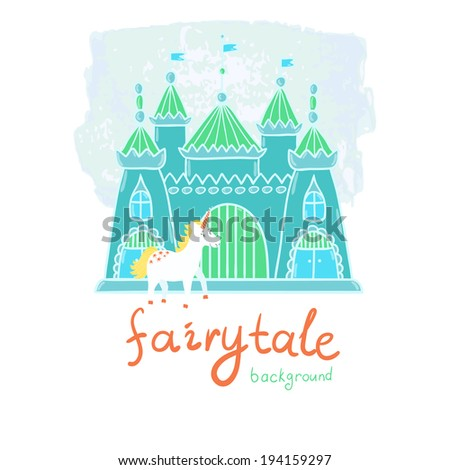 Vector fairytale background with blue castle and cute smiling unicorn. Childish hand drawing backdrop - stock vector