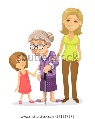 Vector family flat illustration - stock vector
