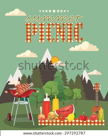 Vector family picnic illustration. Food and pastime objects on green background. Barbecue object, picnic items.  Creative banner with food and nature.  - stock vector