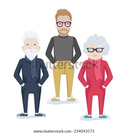 Vector family with elderly grey-haired parents and bearded son in glasses standing with their hands in their pockets facing the viewer - stock vector