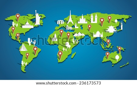Vector famous locations on the map - stock vector