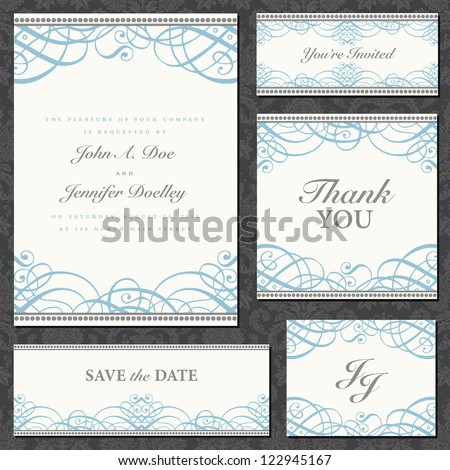 Vector Fancy Ornament Frame Set. Easy to edit. Perfect for invitations or announcements. - stock vector
