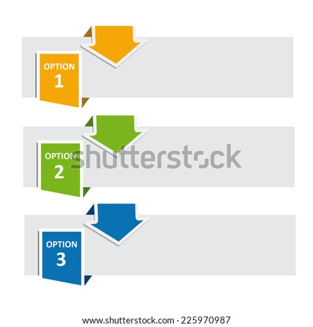 Vector FAQ labels, three options with arrows - stock vector