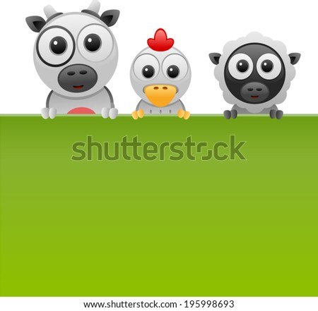 vector farm animals banner 1 - Separate layers for easy editing - stock vector