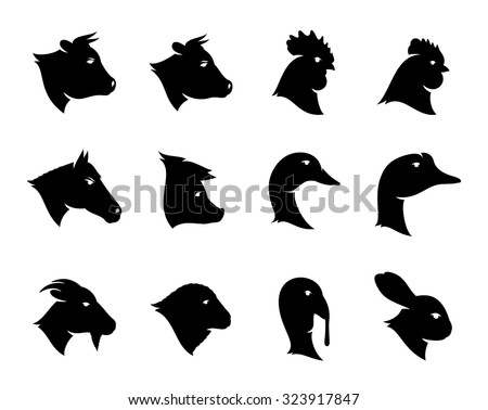 Vector farm animals icons isolated on white. Livestock and poultry icons collection for groceries, butcher's shops and advertising. - stock vector