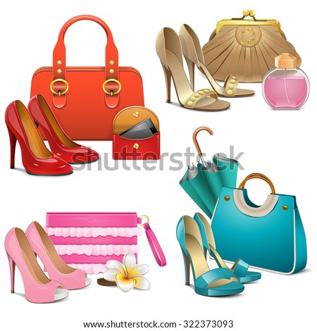 Vector Fashion Accessories Set - stock vector