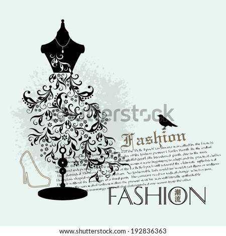 Vector fashion background / Vector illustration of fashion mannequin / vector grunge fashion background  - stock vector