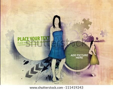 Vector fashion girls in grunge vantage design. - stock vector