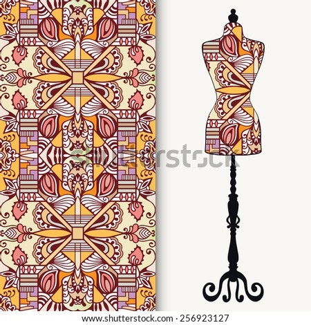 Vector fashion illustration, hand drawn seamless geometric pattern. Vector vintage tailor's dummy for female body, isolated elements for invitation card design. - stock vector