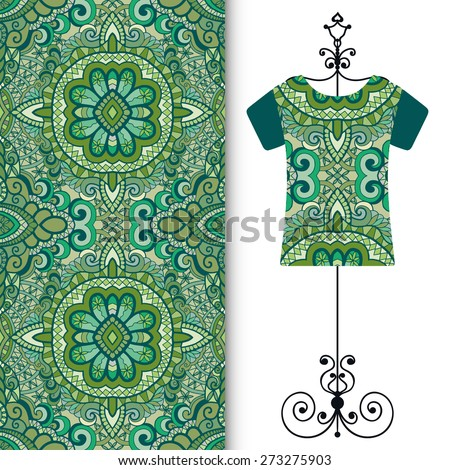 Vector fashion illustration, t-shirt on a hanger, hand drawn seamless geometric pattern, fabric repeating texture with tribal ethnic ornament, isolated elements for invitation card design - stock vector