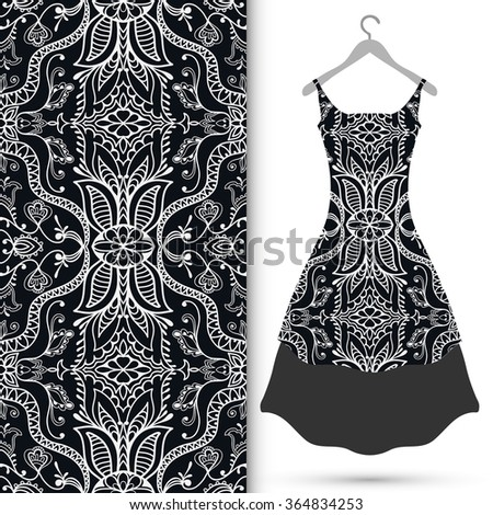 Vector fashion illustration. Women's black lace dress on a hanger, seamless pattern with repeating floral geometric texture. Hand drawn isolated elements for scrapbook, invitations or cards design. - stock vector