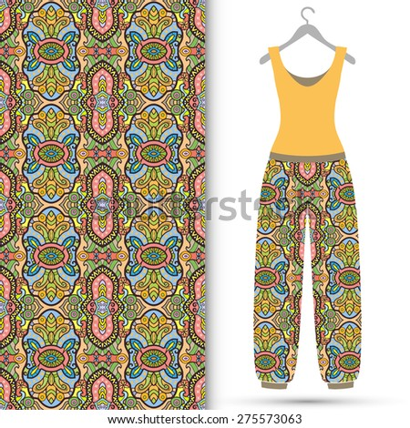 Vector fashion illustration, women's blouse and trousers on a hanger, seamless Arabic ornamental background, tribal ethnic pattern, isolated elements for scrapbook, invitation or greeting card design - stock vector