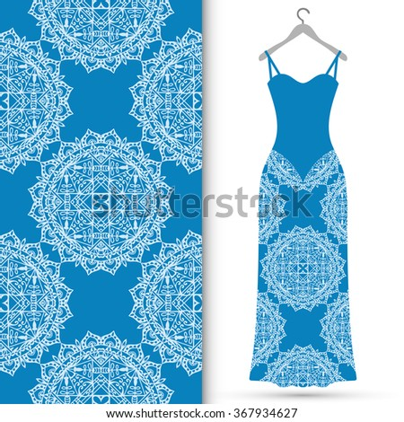 Vector fashion illustration. Women's lace dress on a hanger and seamless fabric pattern with repeating floral geometric texture. Hand drawn isolated elements for scrapbook, invitations or cards design - stock vector