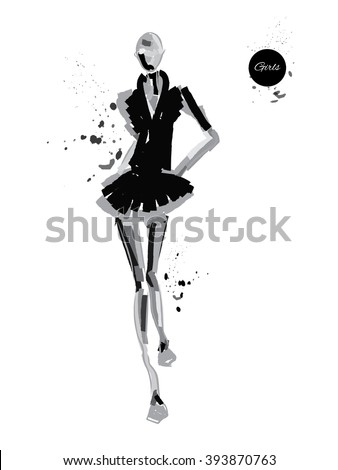 Vector fashion model. Vector sketch silhouette. Vector vintage lady. Dress pencil sketch. Vector fashion outline. Vector style  lady. Vector fashion girl. Black fashion background. - stock vector