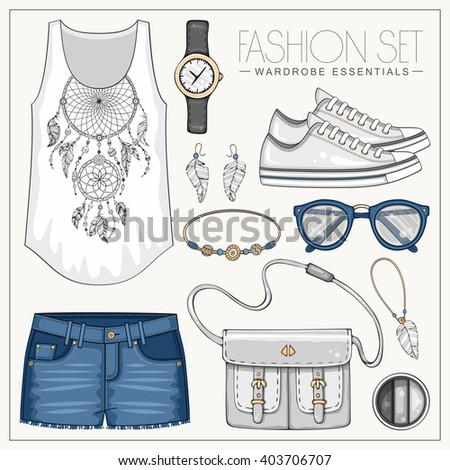 Vector fashion set of woman's clothes and accessories. Casual outfit with jeans shorts, top and sneakers - stock vector
