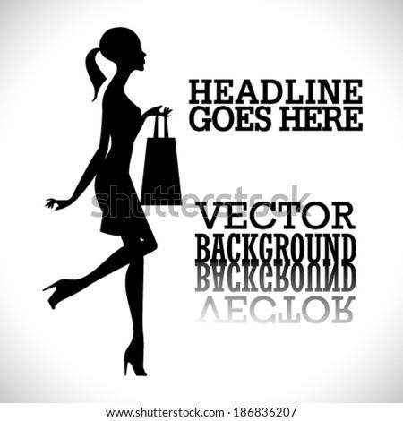 Vector fashion shopping girl silhouette - stock vector