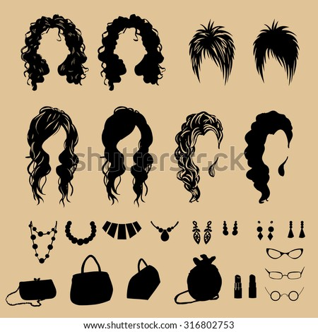 vector fashion silhouettes.Fashion hairstyles  - stock vector