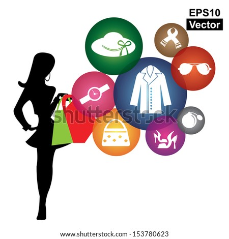 Vector : Fashion, Trends or Lifestyle Business Concept Present By Shopaholic Lady With Group of Colorful Lady Fashion Icon Isolated on White Background  - stock vector