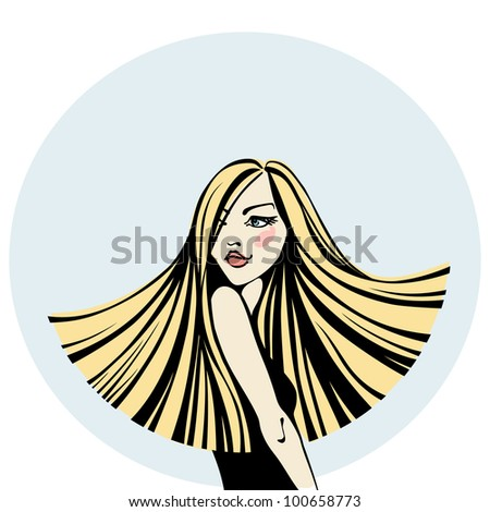 Vector  fashion vintage illustration. Beautiful young woman with long light straight hair. Stylized graphic color background with space for text. - stock vector