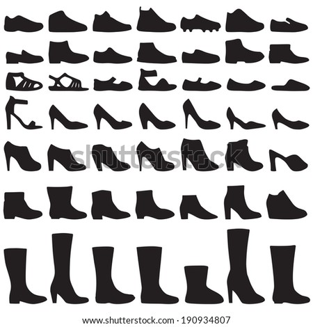 vector fashion woman and man  shoes silhouette, set of icon boots - stock vector