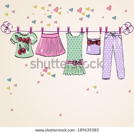 Vector fashionable beautiful clothes for little girls - stock vector