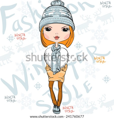 Vector fashionable hipster girl in a coat, knitted hats, scarves and mittens in winter - stock vector