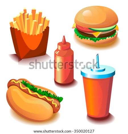 Vector fast food cartoon collection. Illustration for menu card with hamburger, hot dog, fries, ketchup and drink isolated on the white background with shadows. Set of bright vector food icons. - stock vector