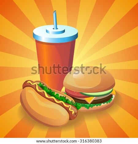 Vector fast food cartoon poster. Illustration for menu card with hamburger, hot dog and drink. - stock vector