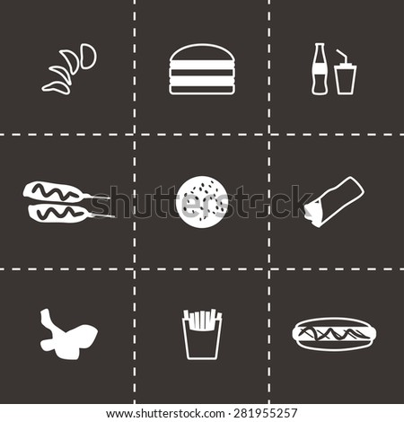 Vector Fast food icon set on black background - stock vector