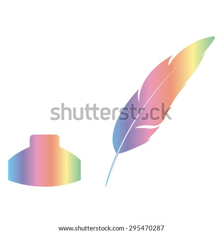 Vector feather and ink bottle icon  - stock vector