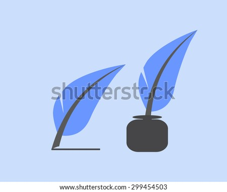 vector feather making line and quill in the inkwell on blue background - stock vector