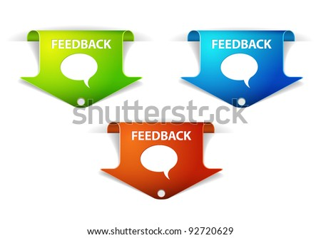 Vector Feedback Arrow  Labels / Stickers on the edge of the (web) page - stock vector