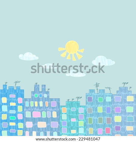 Vector felt tip marker pen drawn colorful city buildings on a sunny day - happy urban life concept poster with room for text.  - stock vector