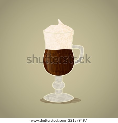 Vector felt tip marker pen drawn irish coffee in a glass with cream flat icon isolated on neutral background - stock vector