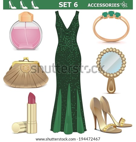 Vector Female Accessories Set 6 - stock vector