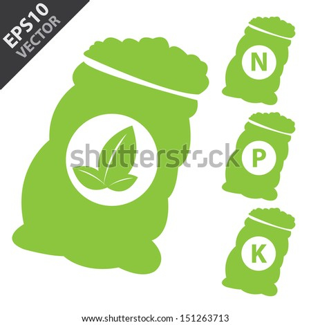 Vector : Fertilizer Icon Present By Green Nitrogen, Potassium, Phosphorus and Leaf Sack Isolated on White Background  - stock vector