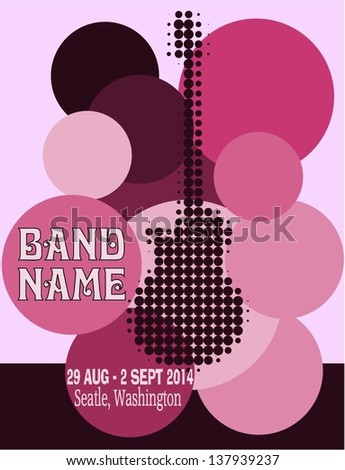 Vector festival Poster Template with guitar - stock vector