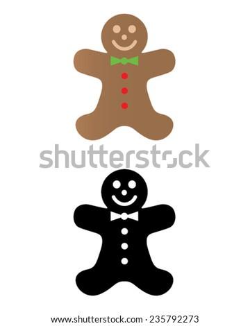 Vector festive gingerbread man set - stock vector