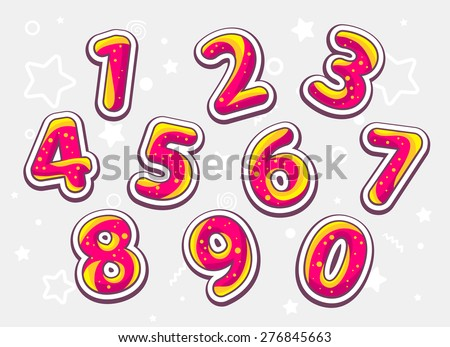 Vector festive red and yellow set of numbers on light pattern background. Hand drawn line art design for web, site, advertising, banner, poster, board and print.   - stock vector