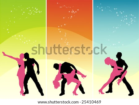 Vector figure of silhouettes dancing young people - stock vector