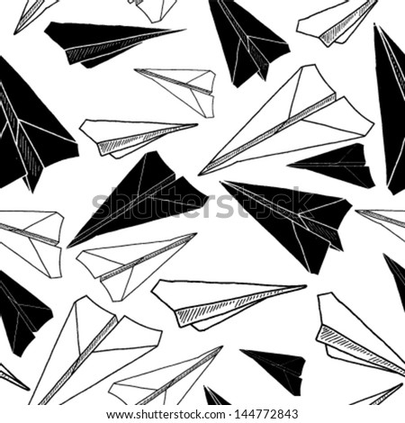 Vector file of black and white paper airplanes. - stock vector