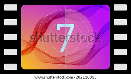 Vector film countdown on an abstract background. Frame 7 of 10. - stock vector