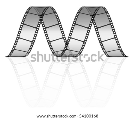 vector film strip as letter M. Easy can be used as a seamless pattern - twisted horizontal film. - stock vector