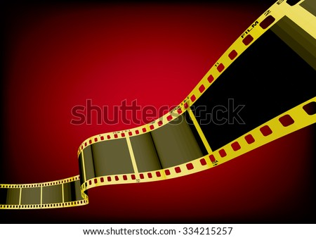 Vector film strip 3D (Gold) - stock vector