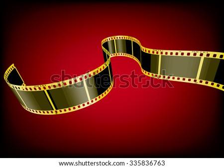 Vector film strip 3D (Gold) - stock vector