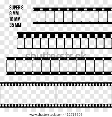 Vector Film Strip Set Illustration on transparent background. Abstract Film Strip Super 8 16 35mm  design template. Film Strip Seamless Pattern. - stock vector