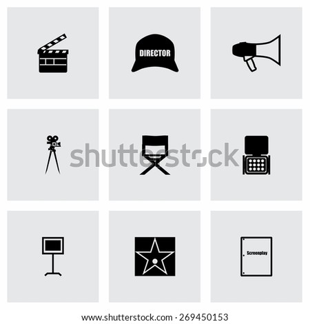 Vector Filming icon set on grey background - stock vector