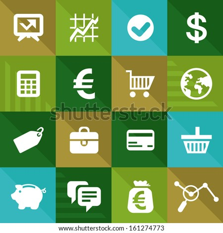 Vector finance and business icons in flat style - commerce design elements - stock vector