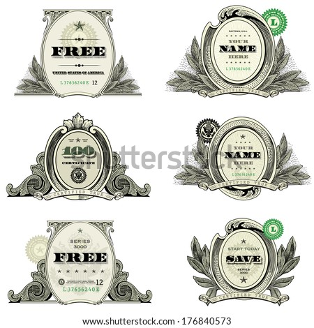 Vector Financial Frame and Badge Set. Easy to edit, all pieces are separated. - stock vector