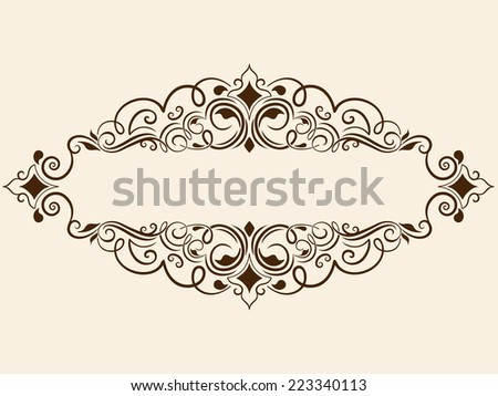 Vector fine floral square frame. Decorative element for invitations and cards. Border element - stock vector